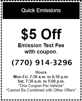 $5 Off Emission Test Fee with Coupon